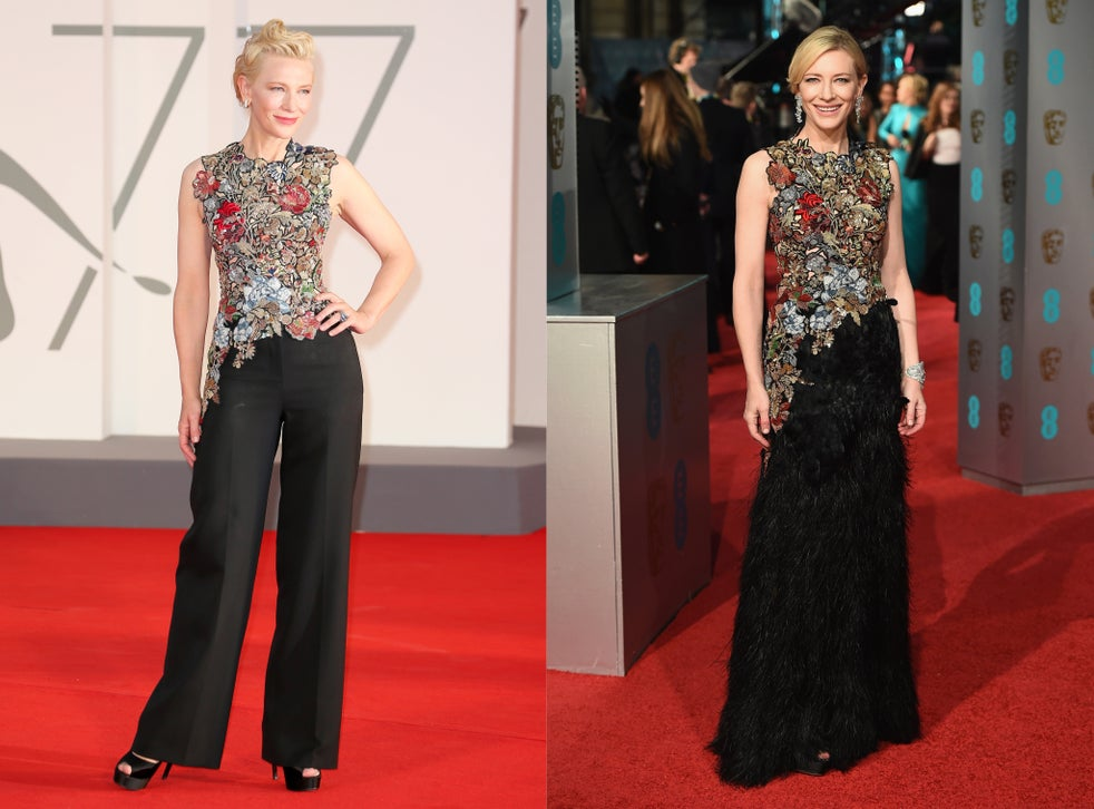 Cate Blanchett at the 2020 Venice Film Festival and at the 2016 Baftas
