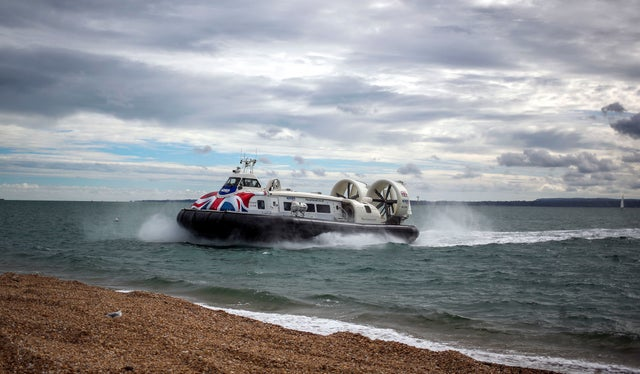 A hovercraft arrives to Southsea, Hampshire from the Isle of Wight