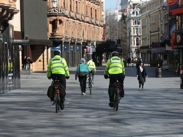 <p>Police officers will continue wearing PPE </p>