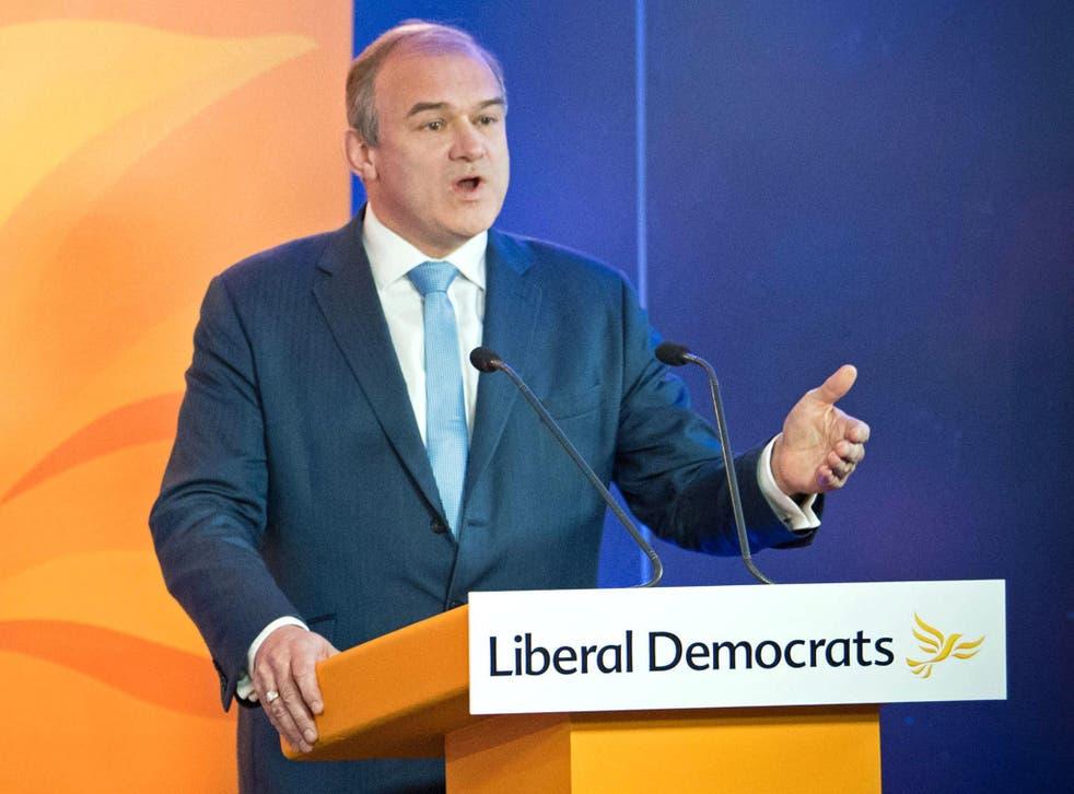 <p>Ed Davey prepares to speak to a virtual Lib Dem conference last year </p>