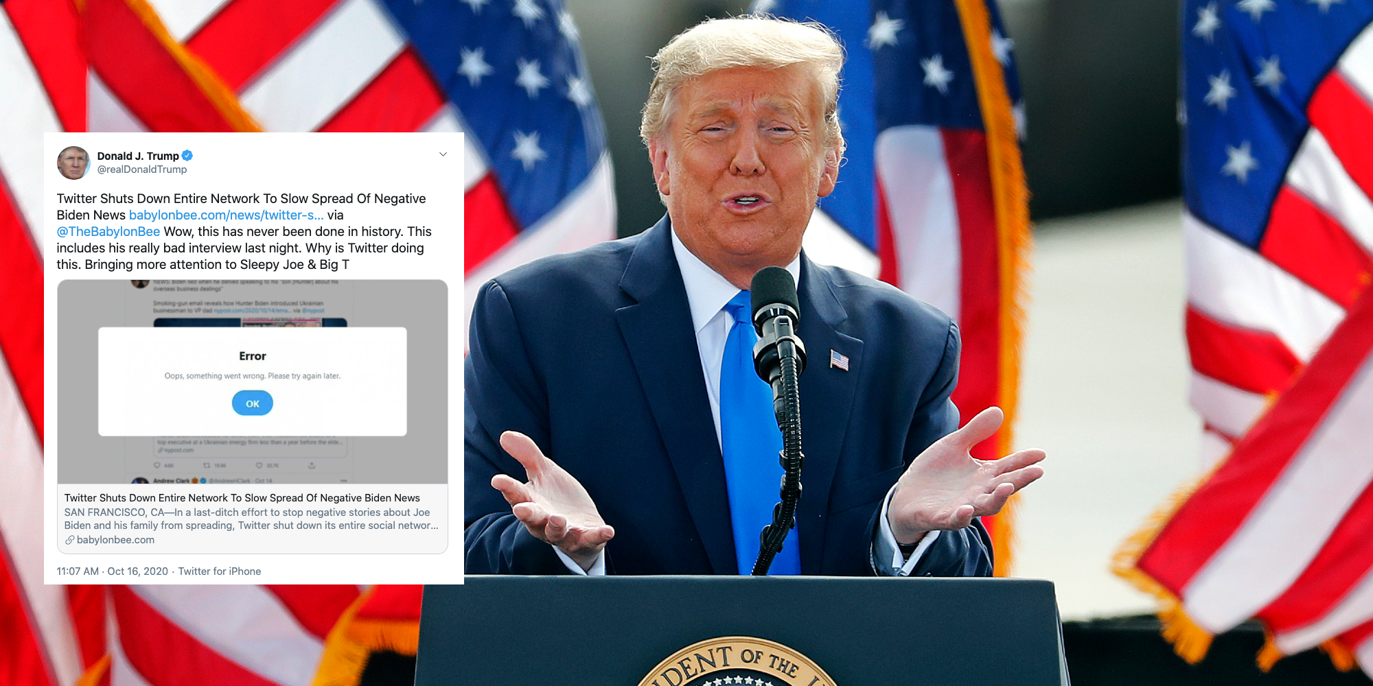 Trump ridiculed for sharing anti-Biden article which was actually from a satirical website