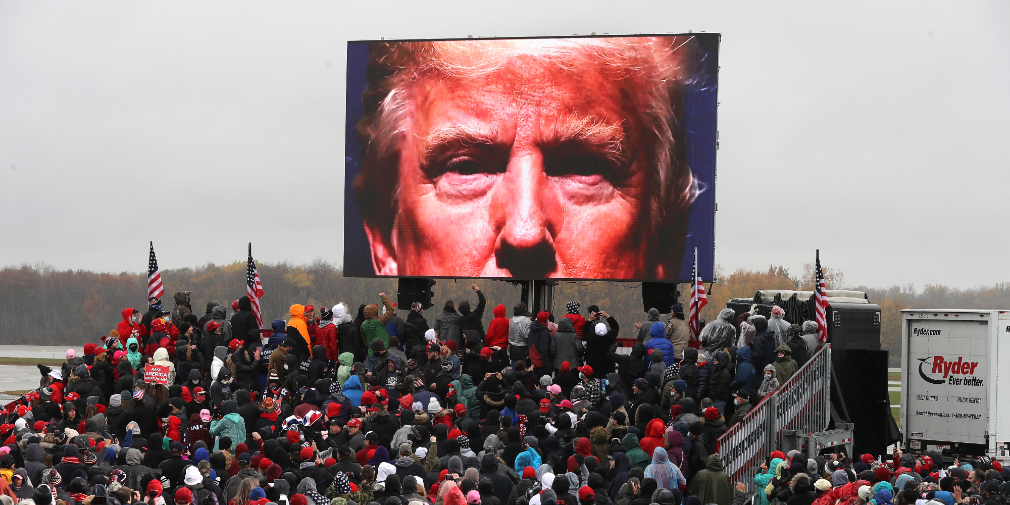 People left horrified over 'dystopian' Trump campaign video shown on giant screens at rally