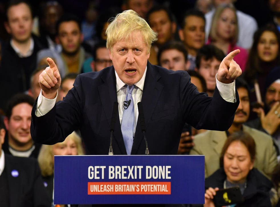 <p>Johnson campaigns during the general election to get Brexit done</p>