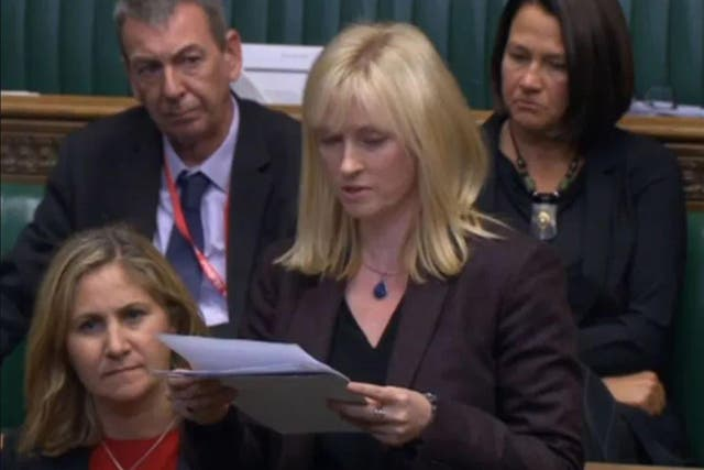 <p>Rosie Duffield in a speech on domestic abuse in the Commons</p>