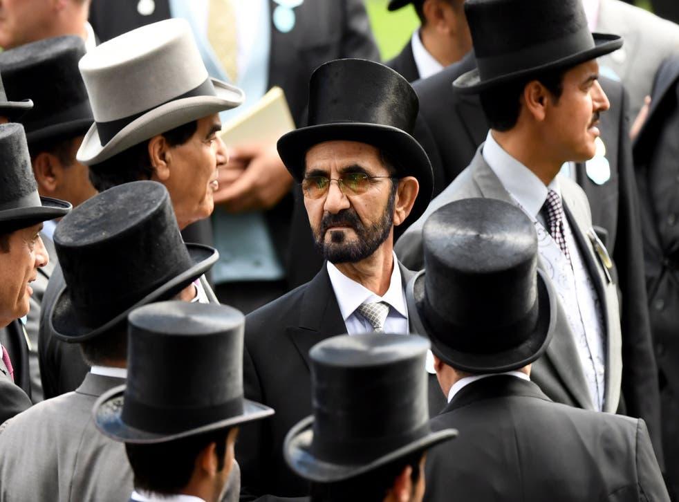 <p>Dubai's ruler Sheikh Mohammed bin Rashid Al Maktoum at Royal Ascot in 2019</p>